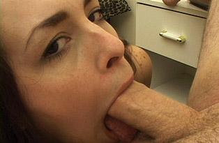 Brunette-Enjoys-Sucking-Cock